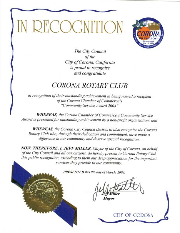 City of Corona Recognition