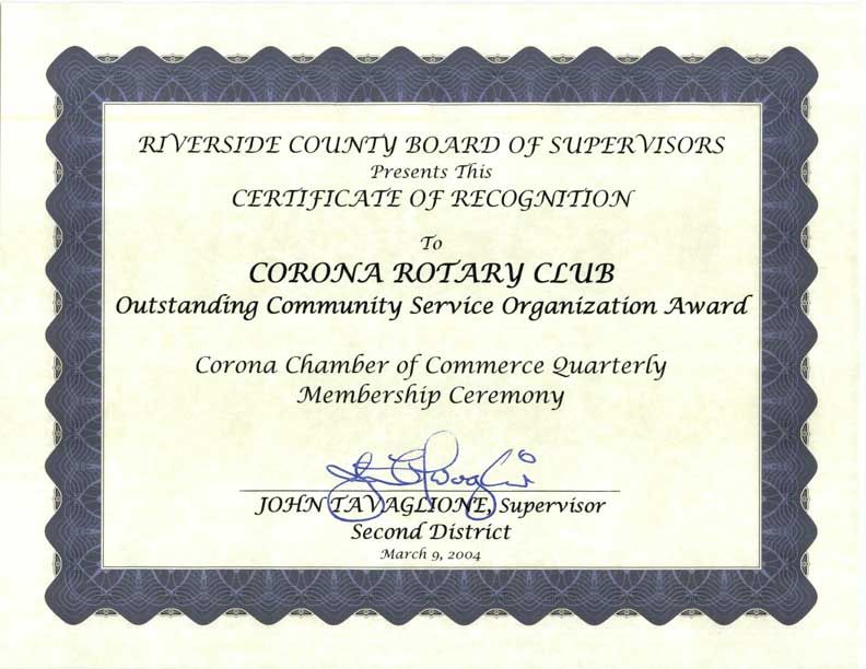 County of Riverside Recognition